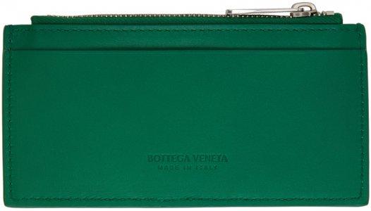 Green Intrecciato Card Holder Bottega Veneta. Цвет: 3152 racing green si