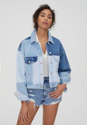 Куртка джинсовая Pull&Bear. Цвет: голубой