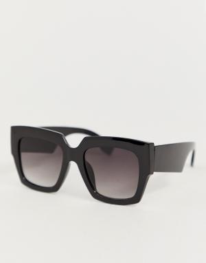 Квадратные солнцезащитные очки в черной оправе -Черный Jeepers Peepers