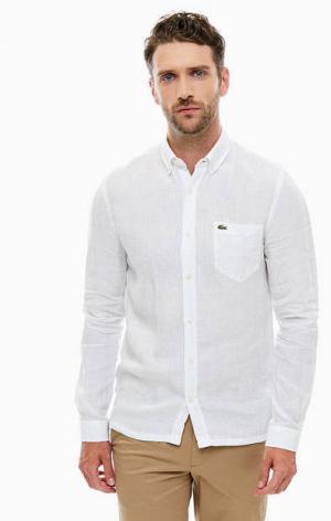 Льняная рубашка с карманом Lacoste. Цвет: белый