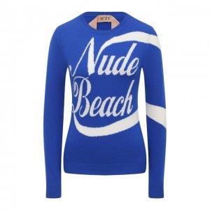 Шерстяной свитер N21. Цвет: синий