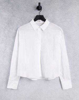Белая поплиновая рубашка -Белый Mango