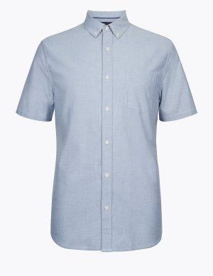 Хлопковая рубашка оксфорд с коротким рукавом M&S Collection. Цвет: светлый серый