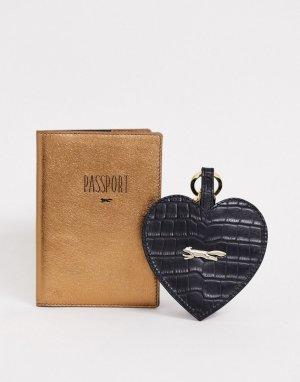 Черная кожаная обложка на паспорт и брелок для ключей -Черный Paul Costelloe