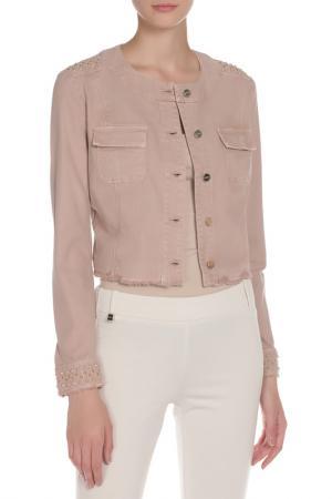 Куртка джинсовая PINKO TAG. Цвет: розово-бежевый