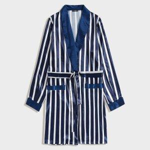 Мужской атласный халат в полоску с поясом SHEIN. Цвет: тёмно-синие