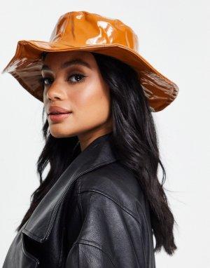 Светло-коричневая шляпа федора из искусственной кожи -Коричневый цвет SVNX