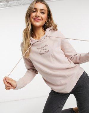 Худи розового цвета с логотипом спереди -Розовый Abercrombie & Fitch