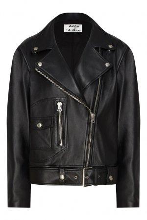 Кожаная куртка со скошенной молнией Acne Studios. Цвет: черный
