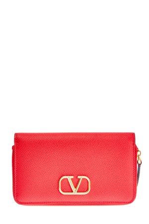 Фактурный кожаный кошелек с макро-логотипом VLOGO VALENTINO GARAVANI. Цвет: красный