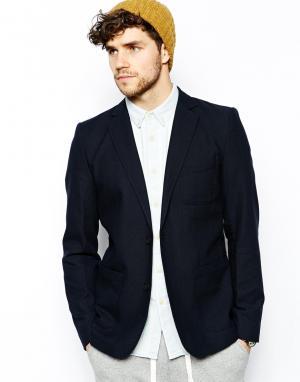 Блейзер с накладными карманами Minimum. Цвет: темно-синий