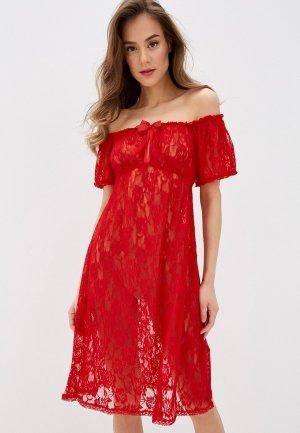 Платье домашнее Gorsenia. Цвет: красный