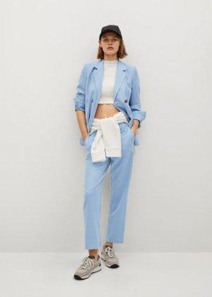 Прямые костюмные брюки - Tempo Mango. Цвет: небесно-голубой