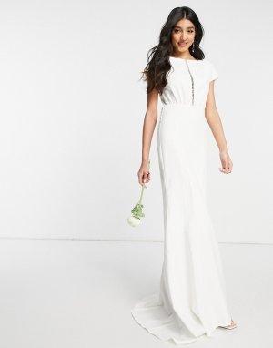 Белое свадебное платье макси с завышенной талией и вырезом спереди -Белый Y.A.S