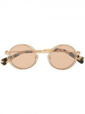 Солнцезащитные очки YY7034 в круглой оправе Yohji Yamamoto. Цвет: коричневый