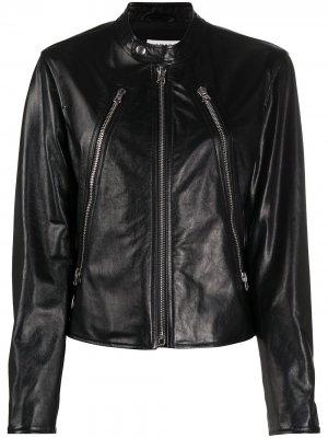 Куртка на молнии с воротником-стойкой MM6 Maison Margiela. Цвет: черный
