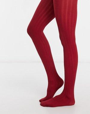 Красные колготки в рубчик -Красный Pretty Polly