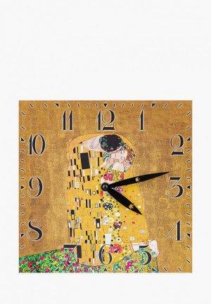 Часы настенные Elan Gallery Поцелуй, 25*25 см. Цвет: коричневый