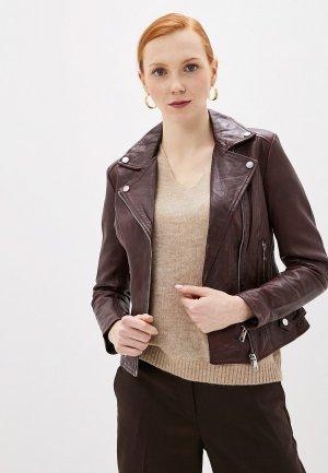 Куртка кожаная La Reine Blanche. Цвет: бордовый