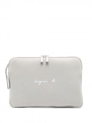 Сума для ноутбука с логотипом agnès b.. Цвет: серый