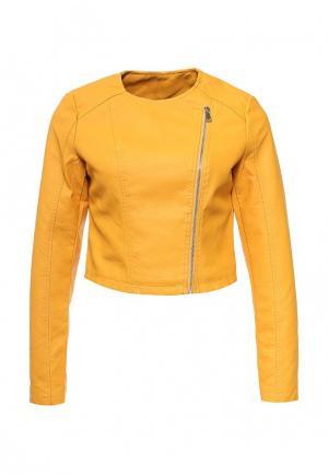 Куртка кожаная Adrixx. Цвет: желтый