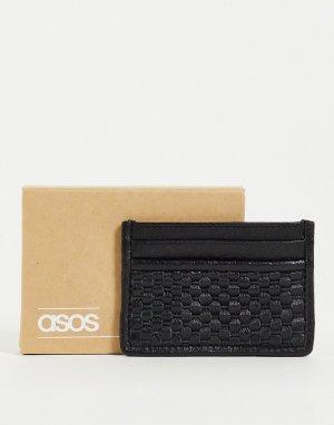 Черная кожаная кредитница с плетеным дизайном -Черный цвет ASOS DESIGN