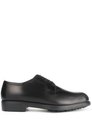 Кожаные туфли-дерби с мехом MORESCHI. Цвет: черный