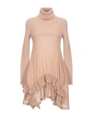Короткое платье ANDREA TURCHI. Цвет: верблюжий