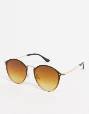 Круглые солнцезащитные очки с золотистой оправой -Золотистый SVNX