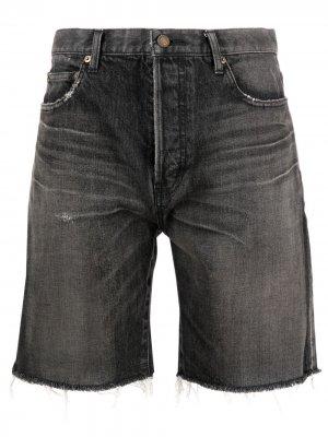 Джинсовые шорты с бахромой Saint Laurent. Цвет: черный