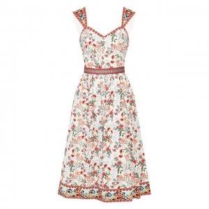 Хлопковое платье Alice + Olivia. Цвет: разноцветный