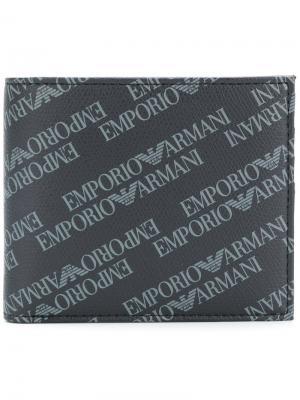 Складной кошелек с принтом логотипа Emporio Armani. Цвет: черный