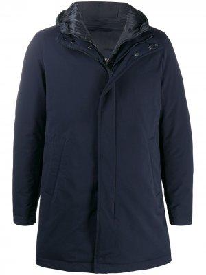 Layered hooded short coat Herno. Цвет: синий