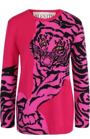 Кашемировый пуловер с круглым вырезом и принтом Valentino. Цвет: фуксия