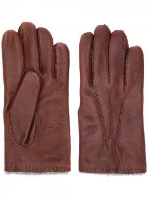Перчатки с декоративной строчкой Orciani. Цвет: коричневый