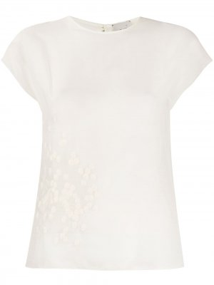 Блузка с вышивкой и рукавами-кап Alysi. Цвет: белый