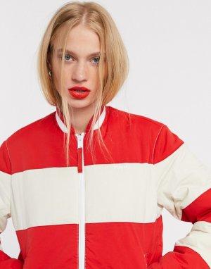 Спортивная куртка в стиле колор блок -Красный Tommy Jeans