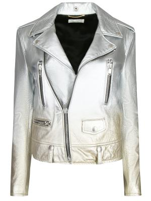 Кожаная куртка SAINT LAURENT. Цвет: разноцветный