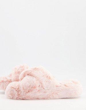 Розовые слиперы на плоской подошве -Розовый цвет New Look