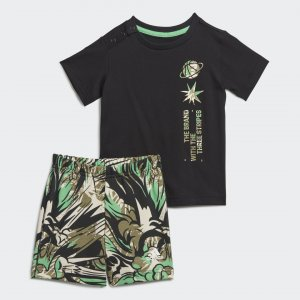 Комплект: футболка и шорты Summer Sportswear adidas. Цвет: черный