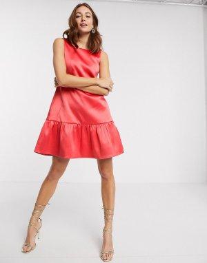 Розовое атласное платье мини Closet-Розовый Closet London