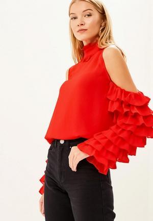 Блуза LOST INK FRILL SLEEVE COLD SHOULDER. Цвет: красный