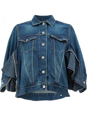 Джинсовая куртка с молниями Sacai. Цвет: синий