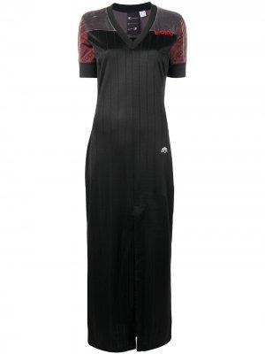 Длинное приталенное платье adidas Originals by Alexander Wang. Цвет: черный