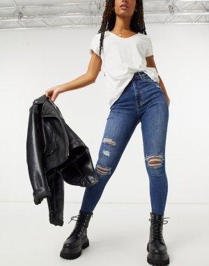 Темно-голубые облегающие джинсы скинни с высокой посадкой и рваными коленями -Синий Bershka