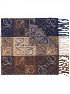 Monogram check scarf LOEWE. Цвет: коричневый