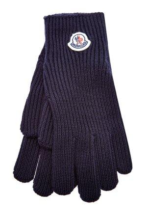 Перчатки из шерстяной пряжи Virgin MONCLER. Цвет: синий