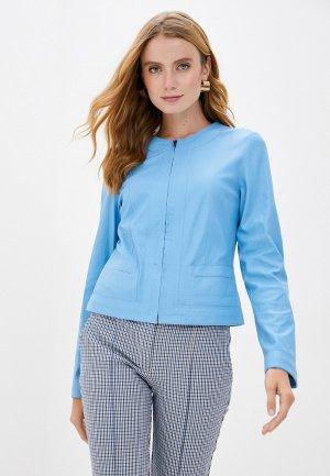 Куртка кожаная Madeleine. Цвет: голубой