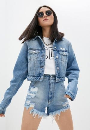 Куртка джинсовая GCDS. Цвет: голубой