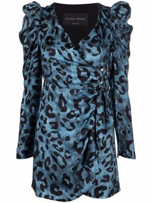 Платье мини с леопардовым принтом и сборками Christian Pellizzari. Цвет: синий